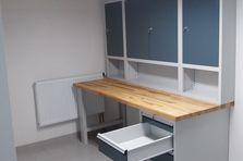 Dílenské pracovní stoly s nástavbovými skříňkami - Kovový nábytek pro výzkumný ústav